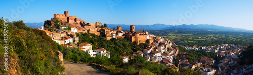 Poster Bleu Panorama of Villafames town in summertime
