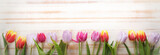 Fototapeta Kitchen - bouquet of tulips of spring flowers on old wooden board on holiday of Easter