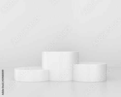 Fotografie, Obraz  Empty white pedestal for winners and champion. 3d rendering