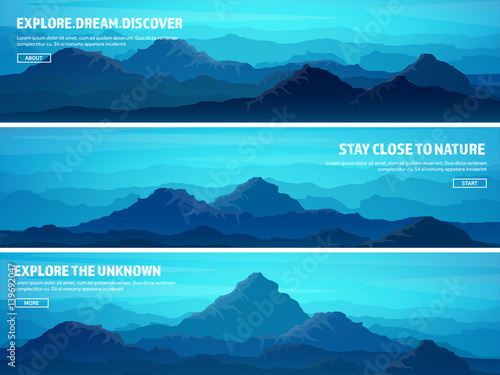 Poster Turquoise Mountains and forest. Wild nature landscape. Travel and adventure.Panorama. Into the woods. Horizon line.Trees,fog,wood.Backgrounds se