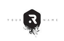 R Letter Logo Design With Blac...