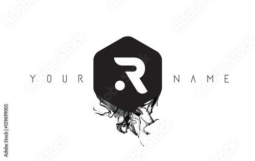 Photo  R Letter Logo Design with Black Ink Spill
