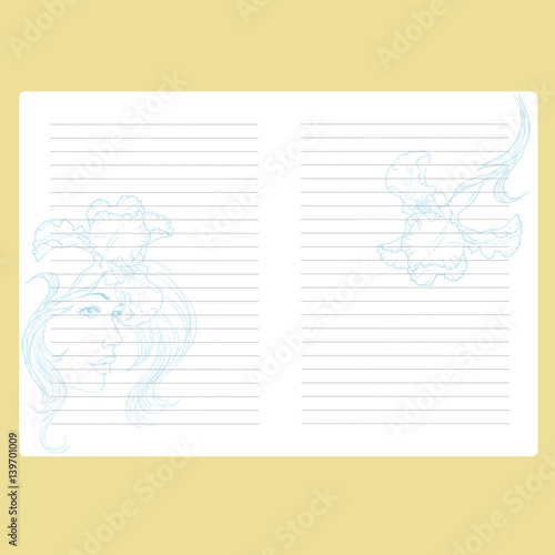 Template notepad. Note book. Page with space for text. Paper for ...