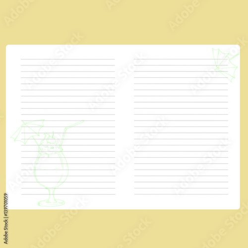 Template Notepad Note Book Space For Text Paper Records Diary Page
