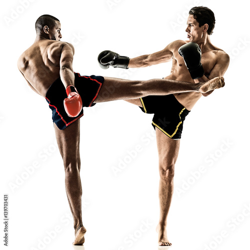 Fotomural two caucasian Muay Thai kickboxing kickboxer thai boxing men isolated on white b