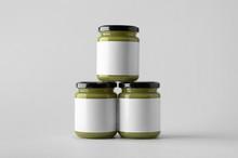 Pumpkin / Hemp Seed Butter Jar Mock-Up - Three Jars. Blank Label