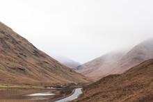 View Of Mountain Road Passing Through Mountain Range