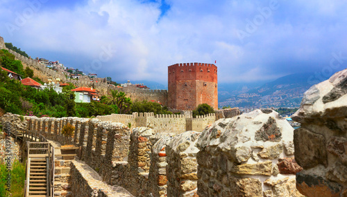 Printed kitchen splashbacks Turkey View of Red Tower (Kizil Kule) and ancient stone wall of Alanya Castle. Alanya, Turkey