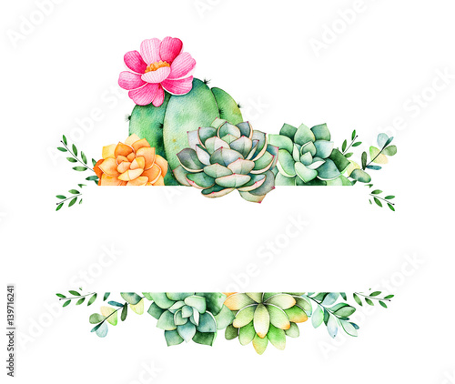 colorful floral frame leaves succulent plant branches and