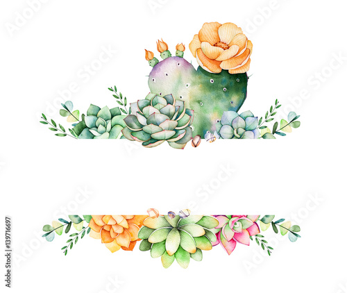 Colorful floral frame with leaves,succulent plant,branches and ...