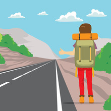 Back View Of Man Doing Hitchhiking Standing On Road Side