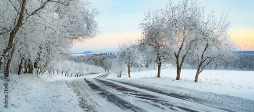 Foto op Aluminium Lichtblauw Winter Landscape with a snowy road and frosty trees