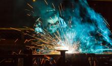Worker,welding In A Car Factor...