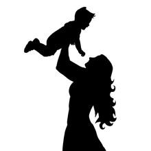 Vector, Silhouette Of Mother And Baby, Motherhood, Hands