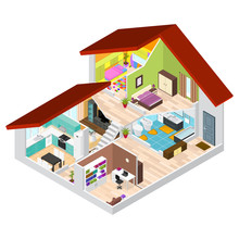 House In Cutaway Isometric View. Vector