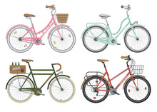 Configurations Of City Street Bicycles. Vector.