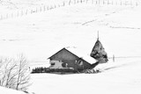 Black and white. Winter on Carpathian mountains.rural landscape. - 139740854