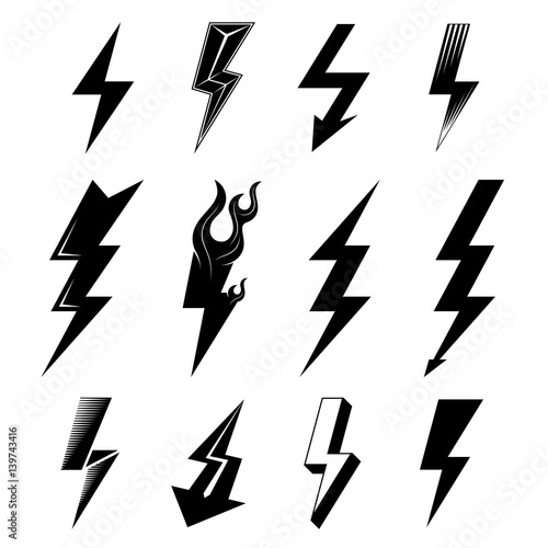 Icon Set Of Lightnings In Black And White Colors Graphic Symbols