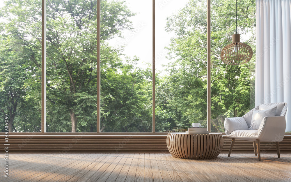 Fototapeta Modern living room with nature view 3d rendering Image. There are decorate room with wood. There are large window overlooking the surrounding nature and forest