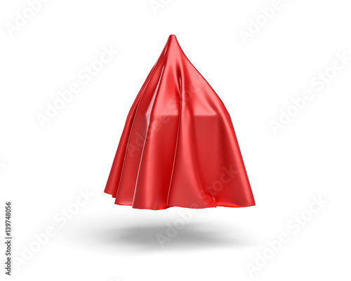 Fotografía  3d rendering of a piece of red satin clothes is going to reveal a box isolated o