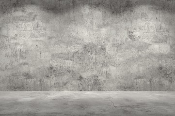 Fototapeta Empty wall. Concrete wall and floor with lights / empty space for your design. Digital generating image.