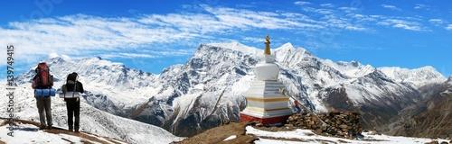 Panoramic view of Annapurna range Canvas Print