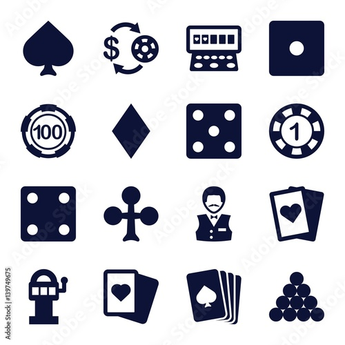 Set of 16 gamble filled icons плакат