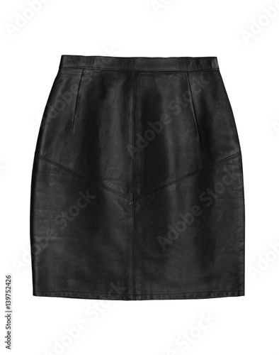 black leather pencil skirt, isolated on white background Wall mural