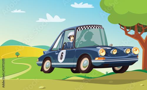 Recess Fitting Cars Rally race blue car