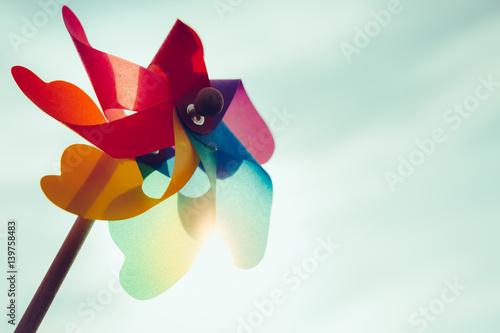 Valokuva  Windmill toy at sunset
