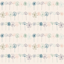 Vector Floral Seamless Pattern With Stylized Dill Or Fennel And Dandelions Flowers.