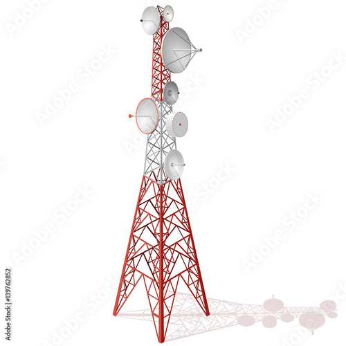 Fotografie, Tablou  Vector satellite tower in isometric perspective isolated on white background