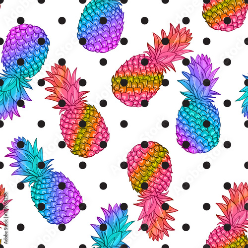 Cadres-photo bureau Aquarelle la Nature Pineapple creative trendy seamless pattern. Neon colors fashionable style memphis, rave Texture for scrapbooking, wrapping paper, textiles, web page, textile wallpapers, surface design, fashion