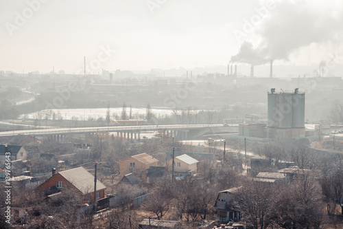 Photo  Morning, fog, smog, dirty polluted industrial area