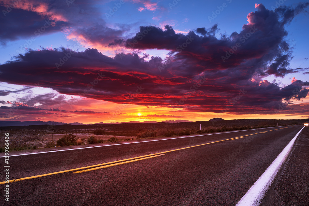 Fotografie, Obraz  Sunset sky and road
