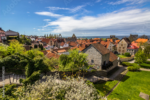 Visby, Gotland - May 15, 2015: Panorama of the town of Visby in Gotland, Sweden Canvas Print