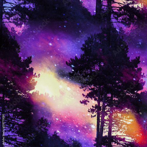Imaginary forest landscape at sunrise with stars, dramatic clouds and silhouettes of trees. Blue, red, yellow, black and purple wild landscape with conifers