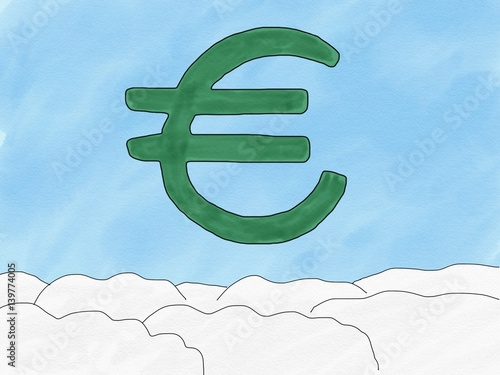 Abstract Hand Draw Doodle Euro Sign On Sky Background Weak Of Euro