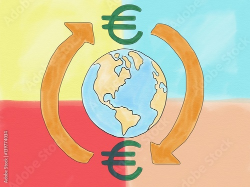 Abstract Hand Draw Doodle Euro Currency Sign Transfer Around World