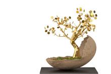 A Golden Tree In An Egg Shaped Flower Pot.3D Illustration.