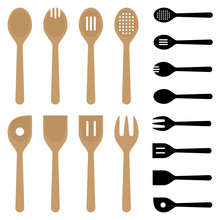 Vector Illustration Of A Set Of Wooden Spoons And Their Silhouettes. Illustrator 8, Global Colors, Neat Work, Easily Editable.