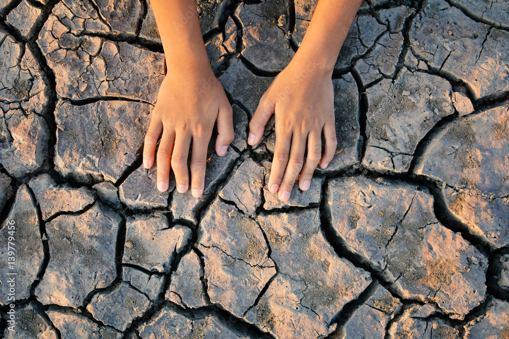 Fototapeta topview hands a girl on dry ground .concept hope and drought