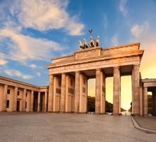 Brandenburg Gate In Berlin, Germany At Sunset