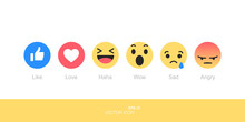 Set Emoji Like Social Icon. Bu...