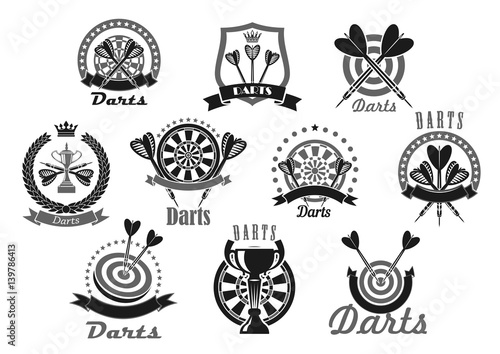 Carta da parati Darts sport award or victory vector icons set
