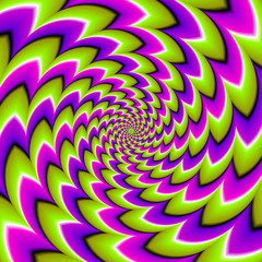 Green, purple and pink spirals. Spin illusion.