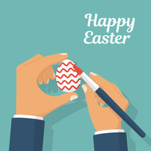 Happy Easter. Preparation For Holiday. Man Holding Brush In Hand Coloring Easter Eggs. Decoration Red Wavy Pattern. Vector Illustration Flat Style Design. Isolated On Background. Celebration Spring.