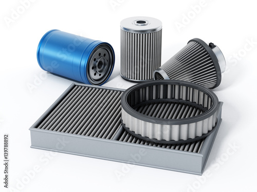 Fotografía  Car spare oil and air filters. 3D illustration