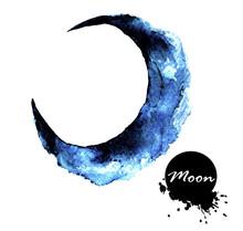 Watercolor Painting Of Half Moon