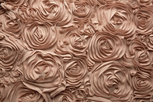 Closeup Fragment Of Pink Fabric With Roses